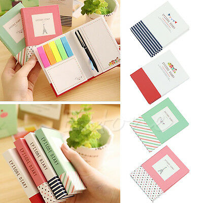 Creative Hardcover Memo Pad Post It Notepad Sticky Notes Kawaii Stationery New