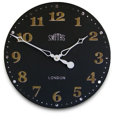 "50cm Large Black and Gold Antique Style ""Smiths"" Vintage Kitchen Wall Clock"