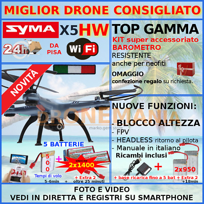 Syma DRONE X5 X5HW camera WiFi video in diretta mantenimento altezza regalo