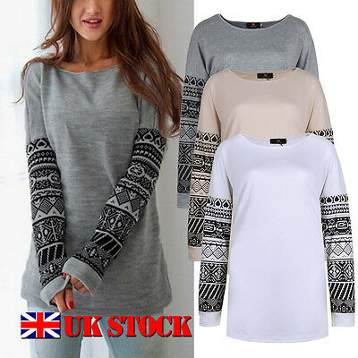 UK Womens Loose Casual Long Sleeve T Shirt Tops Blouse Oversized Tee Plus Size