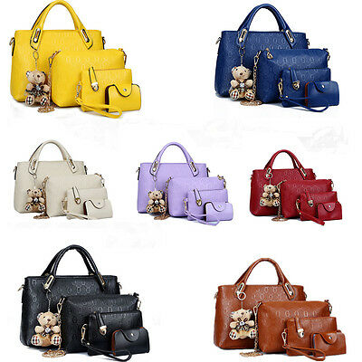 Fashion Women PU Leather Handbag Shoulder Bag Purse 4pcs Crossbody Tote