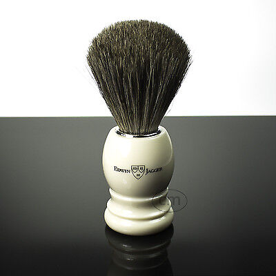 Edwin Jagger Pure Badger Shaving Brush faux Ivory + Free Shaving Soap worth £5