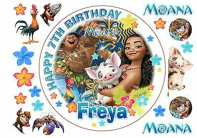 Edible DISNEY MOANA Personalised Birthday Cake TopperS 7.5 & A4, 4CM Cupcakes