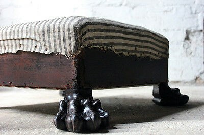 Antique Regency Mahogany Lion's Paw Footed & Ticking Upholstered Stool c.1810