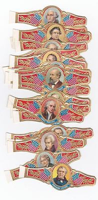 25 cigar bands No Brand American Presidents Shields Pointing Out with EMBOSSING