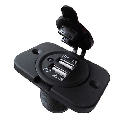 12V Dual USB Charger Power Socket Outlet Plug Panel Mount Boat Truck Auto TG