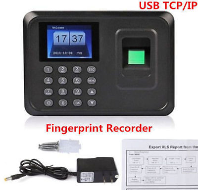 Biometric Fingerprint Attendance Time Clock Employee Payroll Recorder TCP/IP SR
