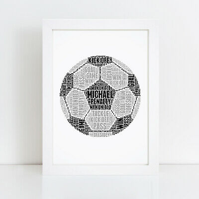 Personalised Word Art Football Fan Picture Birthday Gift Present Print Frame