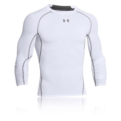 Under Armour HeatGear Mens White Long Sleeve Sports Compression Running Top