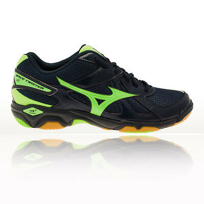 Mizuno Wave Twister 4 Mens Green Blue Squash Indoor Court Shoes Trainers