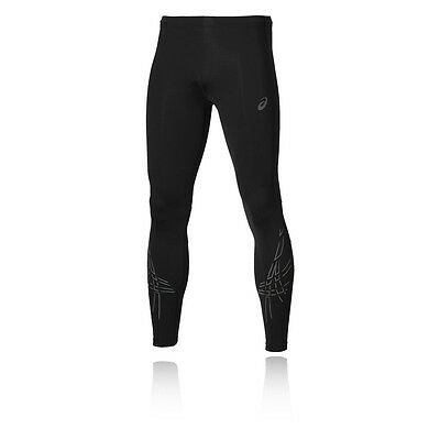 Asics MotionDry Stripe Mens Black Running Tights Sports Pants Bottoms