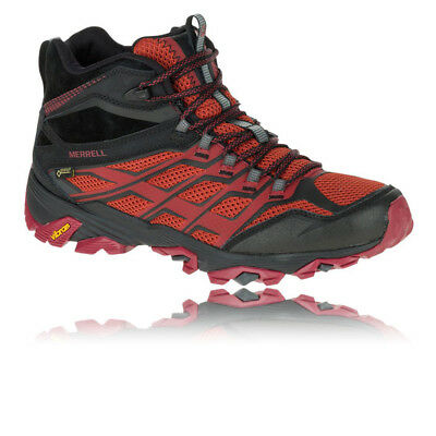 Merrell Moab FST Mid Mens Red Black Gore Tex Outdoors Walking Hiking Shoes