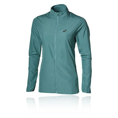 Asics Essentials Womens Green Water Resistant Long Sleeve Running Jacket Top