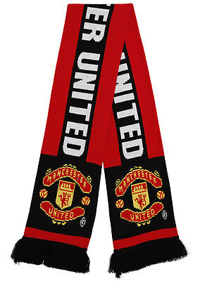 Official Manchester United Merchandise. Adults Red & Black Scarf. Winter - OF106