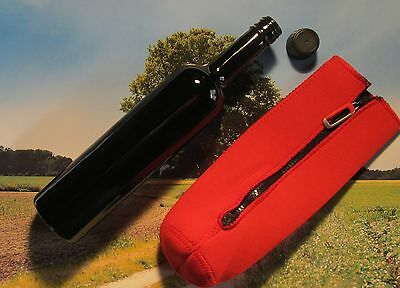 A Miron Violettglas Bottle 500 ml round +red Neoprene protective case /Mironglas