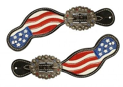 Showman Black Leather Hand Painted American Flag USA Spur Straps Rhinestones