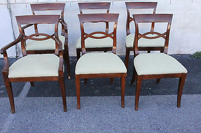 Set of Six Biedermeier style Mahogany Dining Room Chairs,  2 Arm & 4 Side Chairs