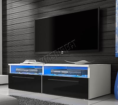 FoxHunter Modern High Gloss Matt TV Cabinet Unit Stand LED Light TVC04 Black New