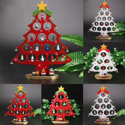 """Wholesale 11.8"""" Wooden Christmas Tree Ornaments Desk Table Decoration Xmas Gift"""