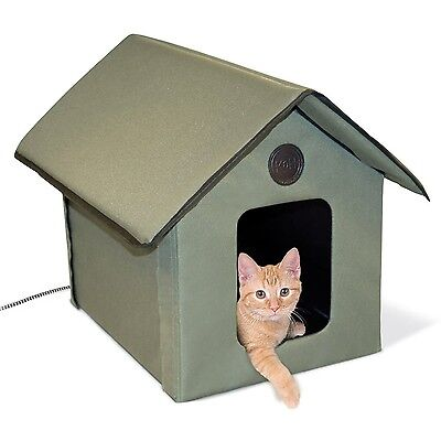 K&H Manufacturing Outdoor Kitty House (Heated) Olive Heated