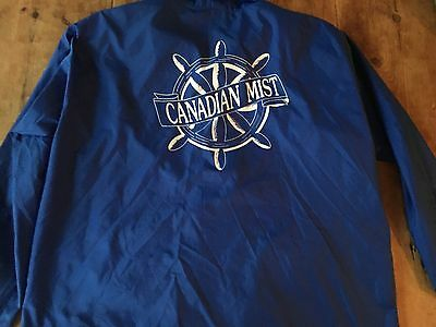 Canadian Mist Whiskey Rain Coat Wind Breaker Blue Vintage 80's MINT XL