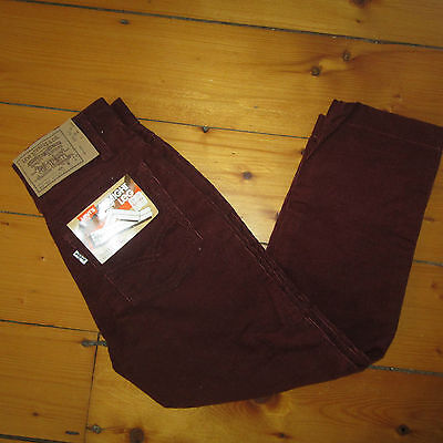 vintage NOS 70s Levis Burgundy Straight Leg Corduroy Youth Boys 10 Regular Pants