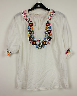 Women's Vintage 70s NEW HAND EMBROIDERED GYPSY TOP Blouse Boho Hippie Cotton