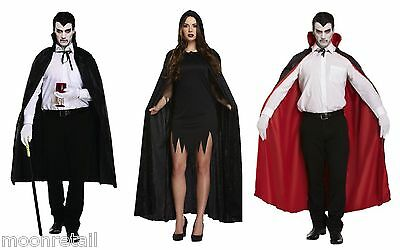 Black Cape Long Hood Velvet Ladies Mens Halloween Fancy Dress Vampire Dracula