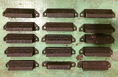 Antique Vintage Hamilton Printing Press Tray Drawer Pulls