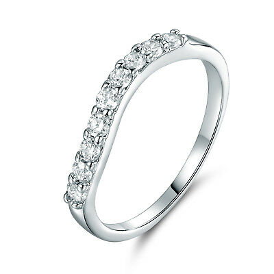 Fashion Twist Wave Design 18k White Gold Filled Clear Diamond Crystal Lady RIngs