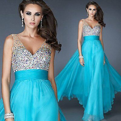 Women Sequins Bridesmaid Formal Gown Ball Party Cocktail Evening Prom Long Dress