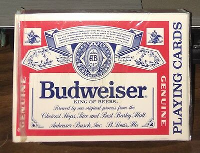 Genuine Budweiser Playing Cards, 52 Cards plus 2 Jokers. Mint Condition