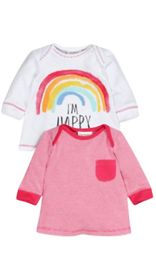 NEXT Girls Rainbow Tops 2 Pack Red Stripe Long Sleeve Baby First Size BNWT