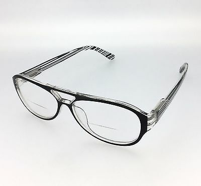 3d75ee5394e Zebra Strip Retro Bifocal reading glasses Black Strip  3601 Free UK Delivery