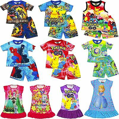 New Size 1-16 Kids Pyjamas Summer Boys Girls Nightie Dress Top Tshirt Gift Pjs