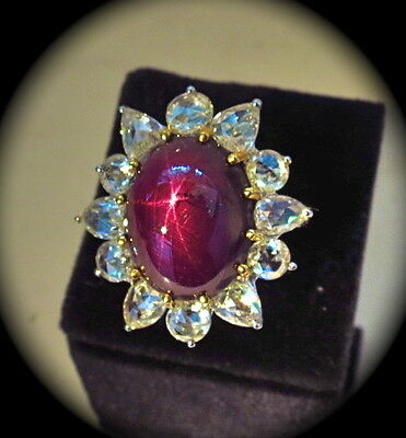 Earth Mined.. No Heat 21Cts 6 Ray Star Ruby Rose Cut Diamond 18Kgold Ladies Ring