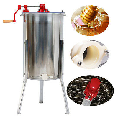 2 Frame Honey Extractor With Clear Plastic Lids Stand Food Grade Stainless Steel