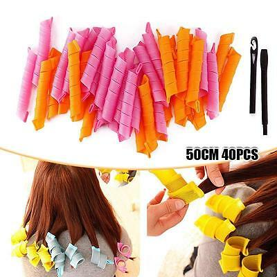 50CM 24/40Pcs Hair Rollers DIY Curlers Nature Circle Twist Curl Spiral Formers