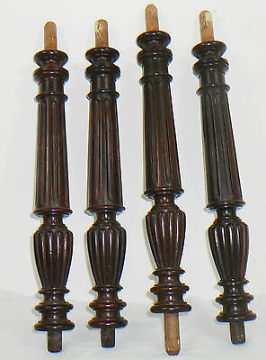 4 French Antique Turned rosewood Pillars Columns