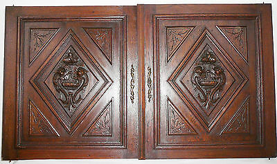 pair of antique FRENCH wood door panel  carved dolphin renaissance oak