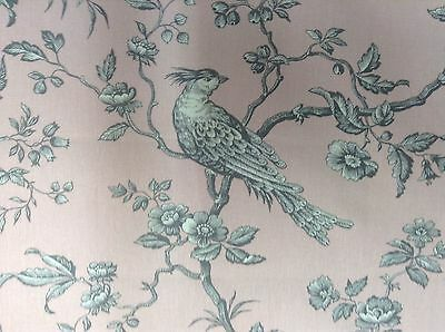 "French Bird Toile Pink/ Grey  280cm/108"" Wide Curtain/ upholstery Fabric"