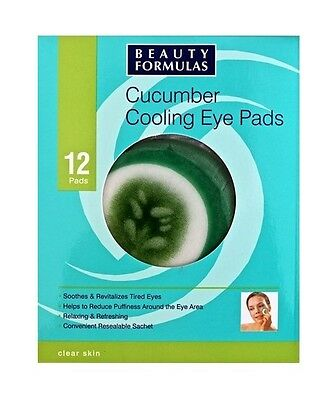 12x Cucumber Cooling Eye Pads Beauty Formulas For Tired Eyes With Aloe Vera