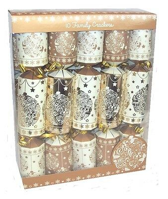 Pack Of 10 Family Christmas Crackers 30cm x 5cm Foiled Cream & Gold Bauble Print