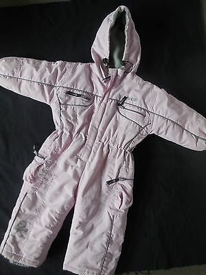 Okco Girls Sz 2 Pink Hooded Snowboarding/skiing All In One/ Snowsuit