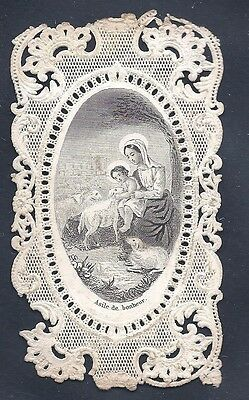 Antique HOLY CARD Vintage religious Canivet Lace Infant Jesus Mary lamb sheep