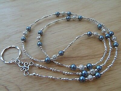 Handmade Beaded Spectacle / Glasses Chain Holder / Necklace. Grey Silver