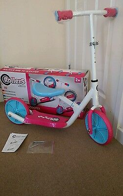 Rollers by Zinc R2 Balance Bike and 2 Wheeled Scooter Girls Kids Toy Pink & Blue