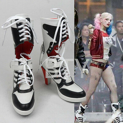 New Suicide Squad Costume Fancy Dress Shoes Harley Quinn Highheels Boots Cosplay