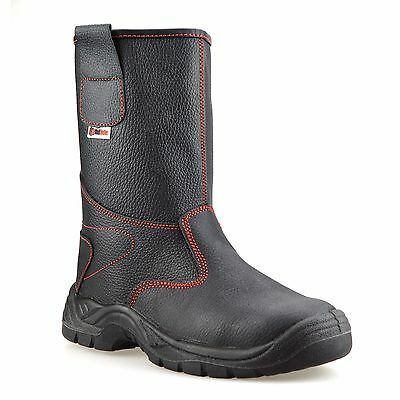Mens Leather Safety Steel Toe Cap Pull On Winter Work Rigger Boots Shoes Size