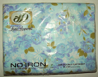 Vintage Lady Pepperell One Flat Double Sheet NEW - blue purple floral pattern